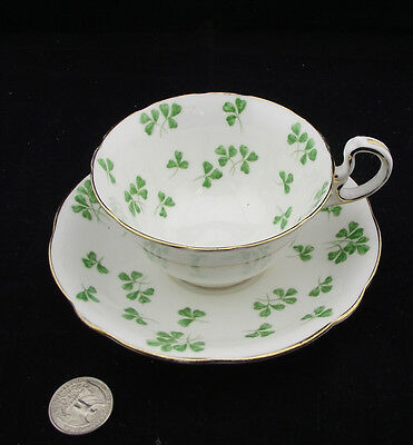 Aynsley Shamrock  Clover Green  Cabinet Tea Cup And Saucer
