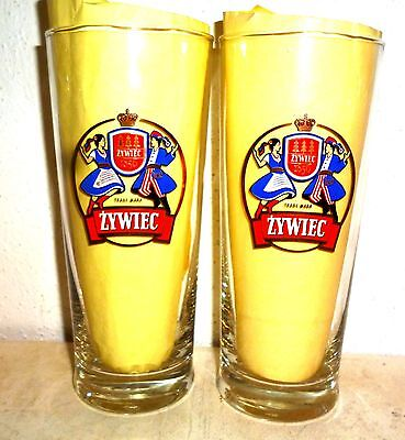2 Zywiec Poland Beer Glasses