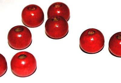 1000 6mm RED WOODEN BEADS - CRAFT WOOD BEADS JEWELLERY MAKING