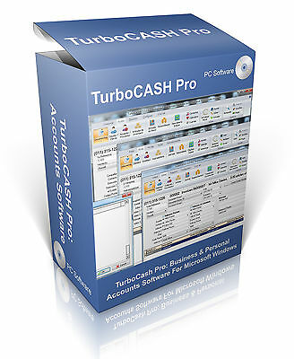Turbocash Pro Business Personal Accounting, Accounts Software Program Cd Vat Tax