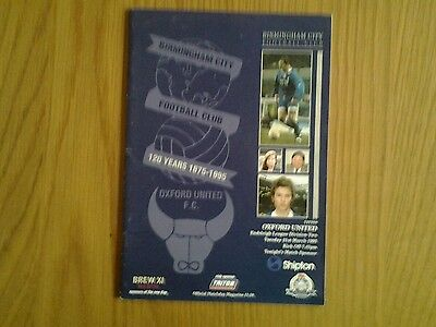 Birmingham City v Oxford United PROGRAMME 1995