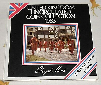 1983 Coin Set In Royal Mint Folder Uncirculated United Kingdom Coll 8 Coins Set