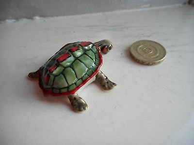 Turtle -  Colourful Pottery/ceramic - Miniature Green/red/black Turtle