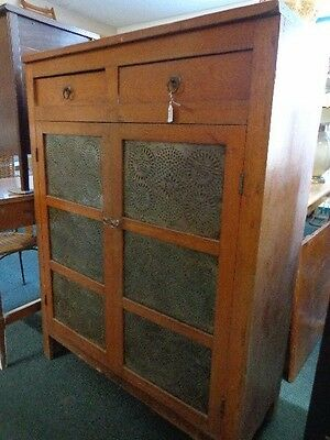 Antique Pie Safe Cupboard Pierced Tin Sides Estate DELIVERY AVAIL.