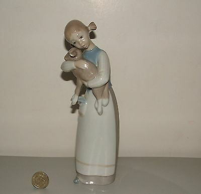 Lladro Figurine - Girl With Kid Goat or Lamb