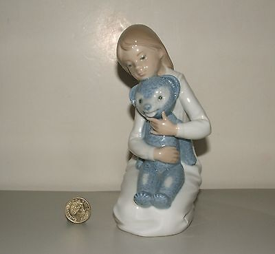 Lladro Nao Retired Figurine 145 Girl Blue Teddy Bear Mint Condition