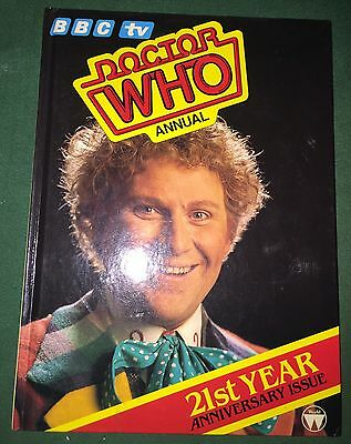 BOOK Doctor Who ANNUAL 1985 Unclipped Unread MINT Colin Baker 21st Anniversary