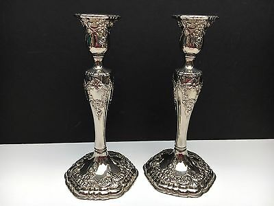 """Pair of Silver Plated Ornate Candle Holders 9"""" Tall Floral Design"""