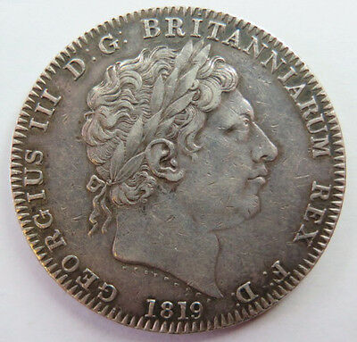 1819 VF Great Britain George III Silver Crown Coin LIX