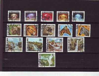 a117 - ZIMBABWE - SG576-590 USED 1980 DEFINITIVES MINERALS/ANIMALS/SCENERY 1c-2$