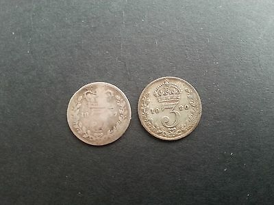 Silver Threepence Coins 1877 Victoria and 1920 George V