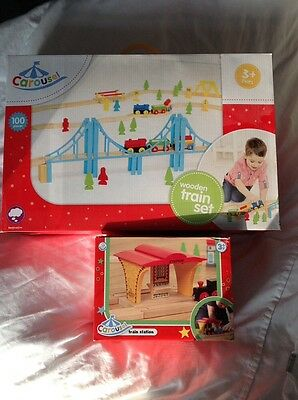 Carousel Wooden Train track set with station - BNIB
