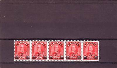 a121 - CANADA - SG314a MNH 1932 3c ON 2c SCARLET - STRIP OF 5