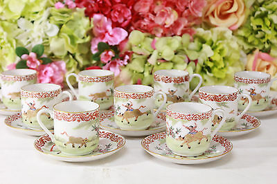 """Chinese Export, """"Boy on a Buffalo"""" Pattern Demitasse Cups/Saucer (9)"""