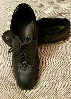 ladies hotter shoes size 7. 5 black leather trainer style lace up