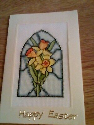 completed cross stitch Easter card