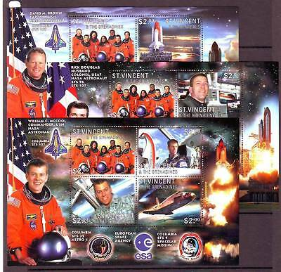 a122 - ST VINCENT - SGMS5221-MS5223 MNH 2003 COLUMBIA SPACE SHUTTLE COMMEMORATIO