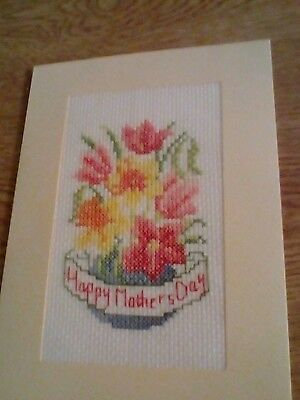 completed cross stitch mothersday card