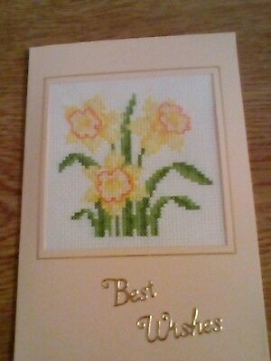 completed cross stitch card  birthday daffodils