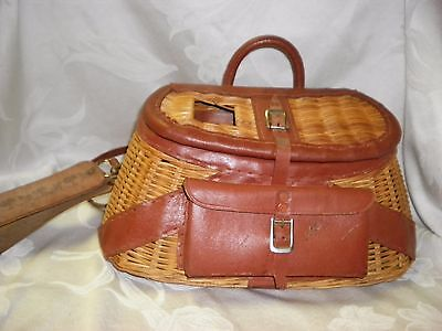 Vintage Fishing Creel Basket With Pouch