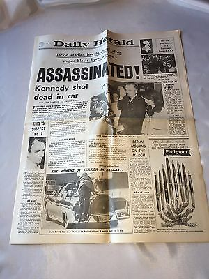 """Reproduction Newspaper """"The Daily Herald"""" Kennedy Assassination 23rd Nov 1963"""