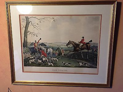 Framed Vintage Hunting Print. Henry Alken Jnr (Hand coloured Engraving)