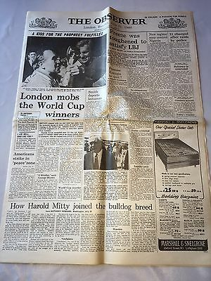 """Reproduction Newspaper """"The Observer"""" England win the World Cup. July 31st 1966"""