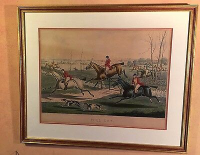 Vintage Framed Hunting Print by  H Alken Jnr (Hand Coloured Engraving)