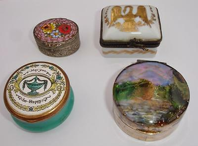 4 Interesting Old trinket boxes inc Silver Plated & Micro Mosaic top