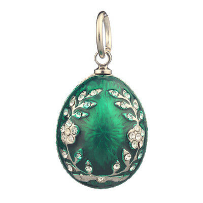 Faberge Egg Pendant / Charm with crystals 2.2 cm green #0811-08