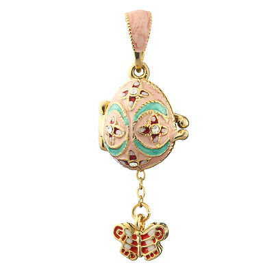 Faberge Egg Pendant / Charm with Butterfly 2.1 cm pink #0611-04