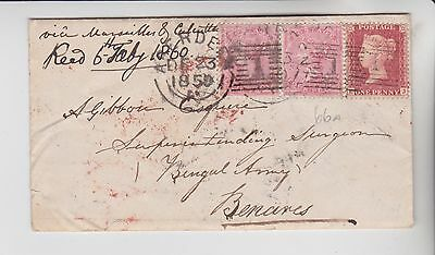Gb Stamps 1850 Envelope Aberdeen Via Marseille And Calcutta To Bengal Army