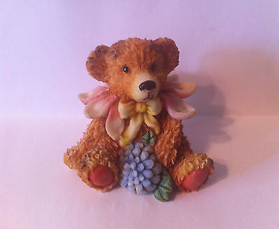 Decorative  Resin Brown Bear Forest Animal Figure Figurine - Flowers Spring