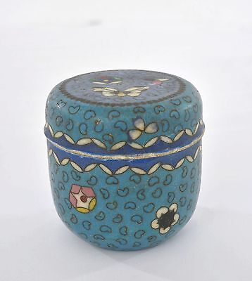 Early 20C Japanese Satsuma Totai Cloisonne Enamel Tea Caddy Kogo Box Butterfly