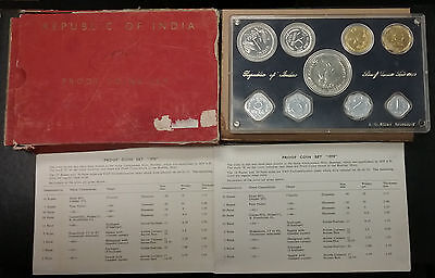 INDIA 1970 Bombay Mint PROOF Set 9 Coins w/Big SILVER 10 Rupee In SEALED Plastic
