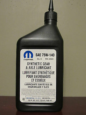 Sealed 1 U.s Quart Mopar 75W140 Synthentic Fluid Lube Gear Lubricant