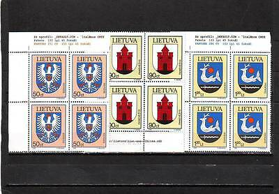 Lithuania - Sg628-630 Mnh 1996 Town Arms - Blocks Of 4