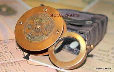 Antique Reading Lens With Leather Case Vintage Brass Magnifying Glass Tabletop
