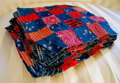 Antique Indigo & Red Calico Quilt Blocks Hand Sewn Folky Total 42 Pieces