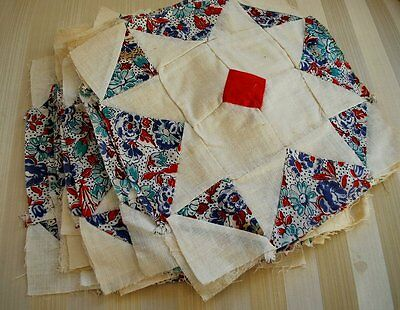 Vintage Star Quilt Blocks In Cotton Floral Prints  Total Of 18 Pcs.hand Sewn