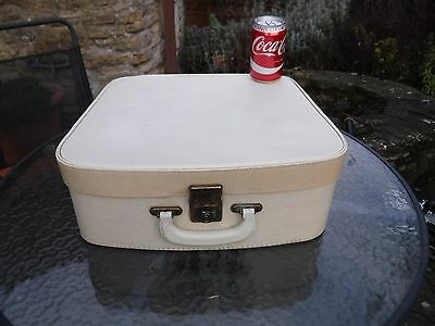 Vintage Cream Vanity Case With Blue Satin Style Lining