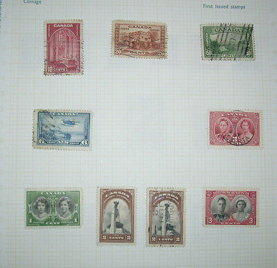 OLD ALBUM PAGE OF CANADA STAMPS (Lot 4)