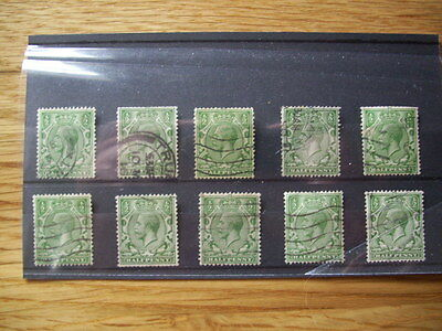 1/2d GREEN GEORGE V STAMPS - USED