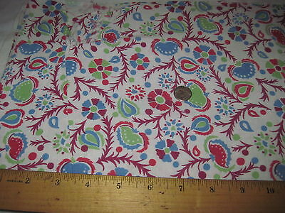 Vintage Full Authentic Feedsack Red, Blue & Green Floral Design