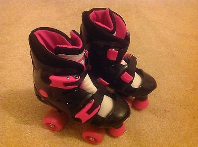 Girls Black and Pink Adjustable Roller Skates Size 13 - 2 UK