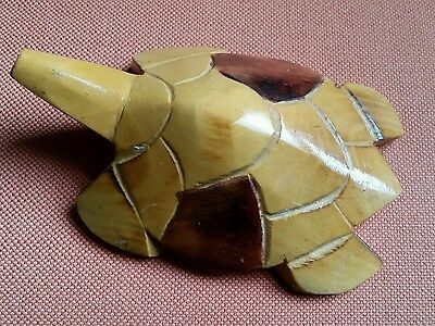 Vintage hand carved small wood turtle from Fiji. Naive craft folk art