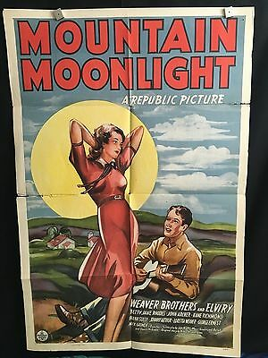Mountain Moonlight ORG 1941 One Sheet Movie Poster RARE Weaver Brothers Cowboy