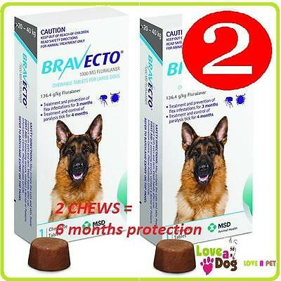 Bravecto  Large Dogs 20-40kg 2 Chews/Flea/Tick Treatment = 6 mths treatment SALE