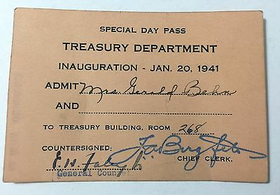 1941 FDR INAUGURATION PASS for TREASURY DEPARTMENT FDR'S BODYGUARD