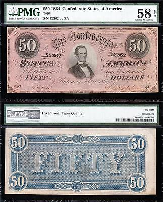 Awesome HIGH GRADE 1864 T-66 $50 CSA Confederate Note! PMG 58 EPQ! 52362